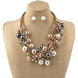 IPINK Fashion Charm Jewelry Pendant Faux Pearl Choker Chunky Statement bib Necklace and Earrings Set
