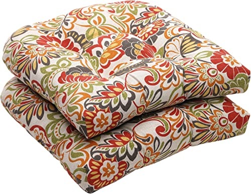 Pillow Perfect Indoor Outdoor Multicolored Modern Floral Wicker Seat Cushions, 2-Pack Renewed