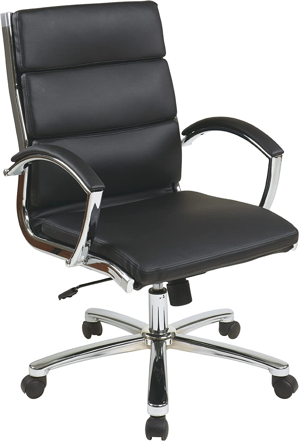 Office Star Mid Back Executive Faux Leather Chair with Chrome Finished Base and Padded Arms, Black