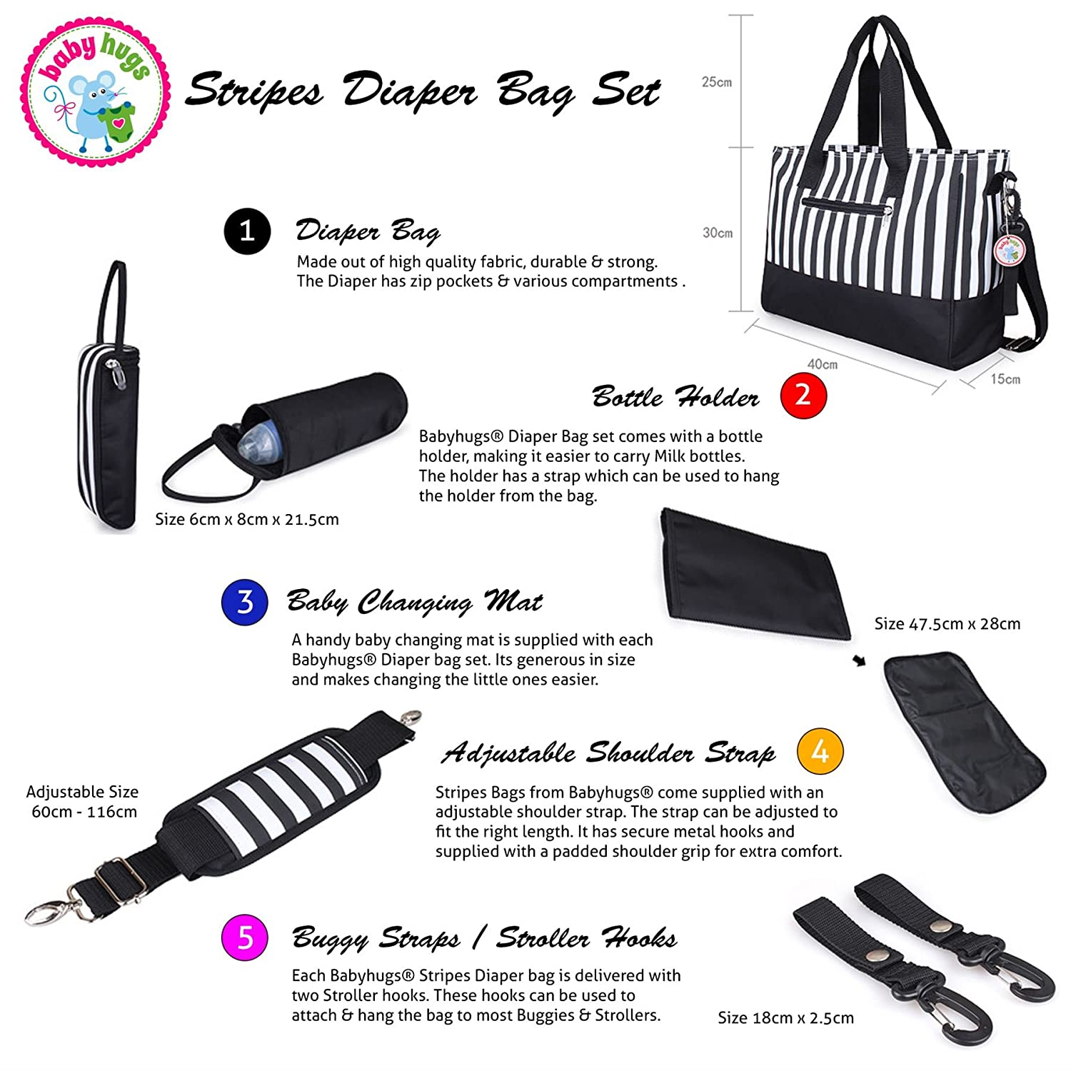 Babyhugs 5pcs Baby Nappy Changing Diaper Bag Set Brown /& White Stripes