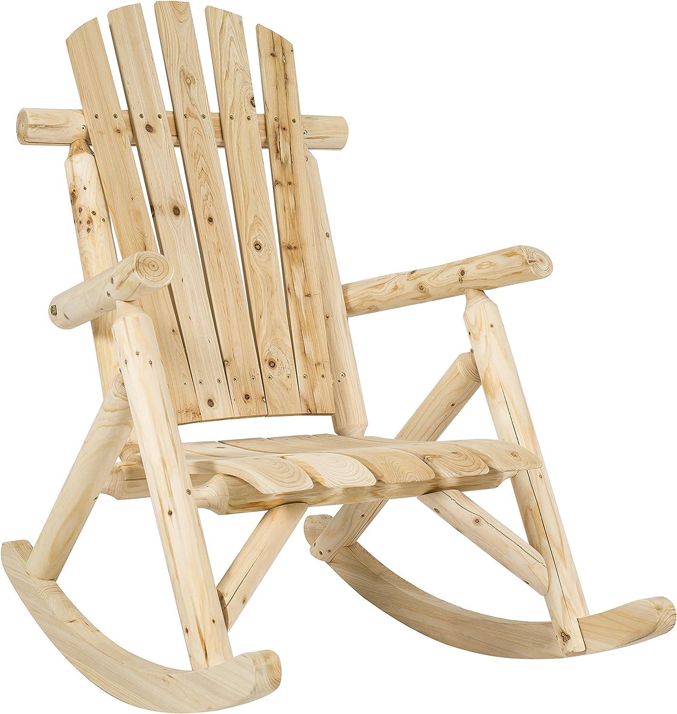Best Choice Products Hardwood Log Rocking Chair Single Rocker Natural