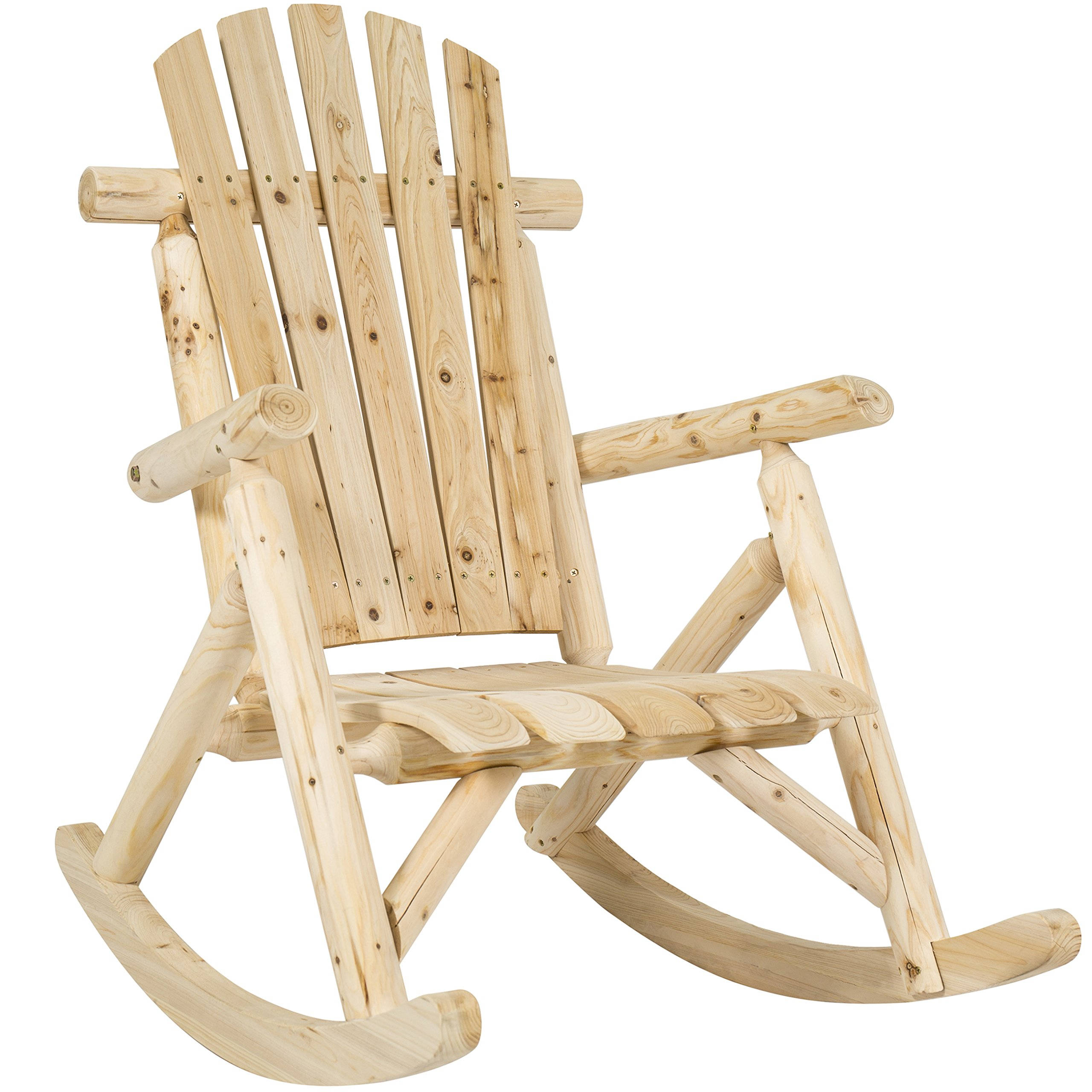 Best Choice Products Hardwood Log Rocking Chair Single Rocker Natural by Best Choice Products
