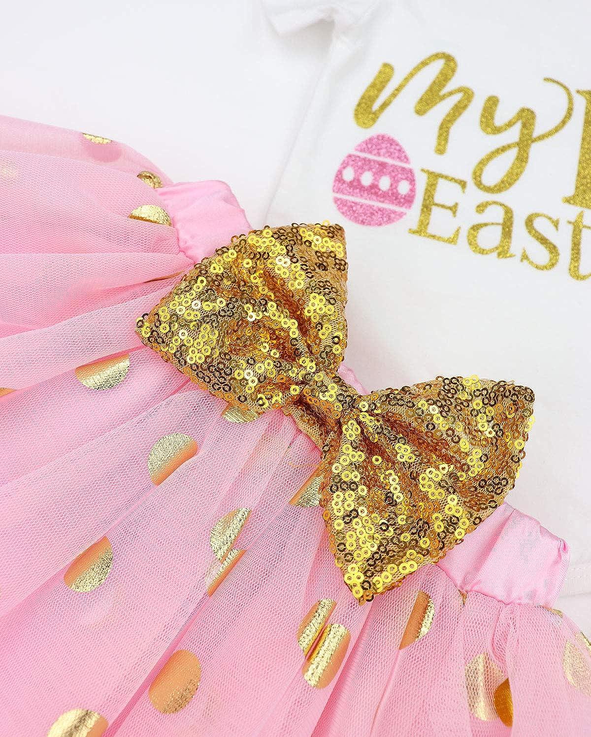Uaena Baby Girls My 1st Easter Tutu Romper Dress Short Bodysuit Headband Outfit for 3 6 9 12 Months Uaena-0075