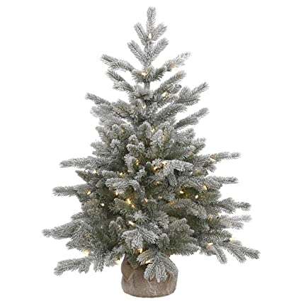 VCO 3' Pre-Lit Frosted Sable Pine Artificial Christmas Tree with Burlap  Base - - Amazon.com: VCO 3' Pre-Lit Frosted Sable Pine Artificial Christmas