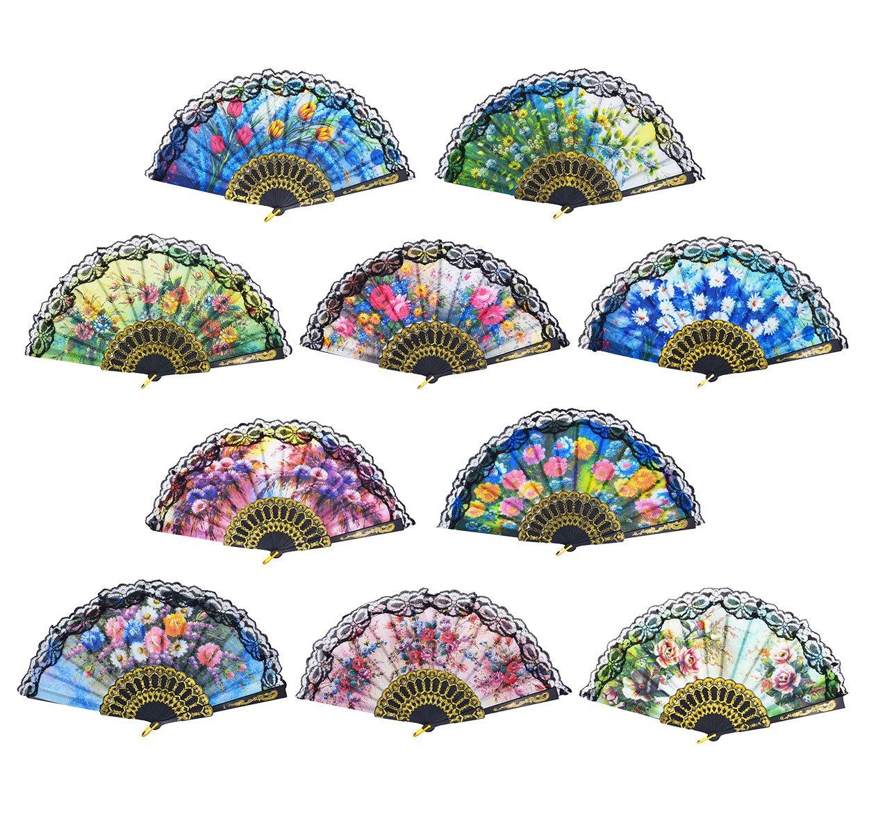 GZZOU 9 ''(23cm) Colorful Spanish European Style Lace fan,Charming Elegant Women Hand Help Silk Fans Folding Fans Dance Fan Stage Property Fan,Gilding Plastic Ribs Plant Print Dance Fan (Multicolor)