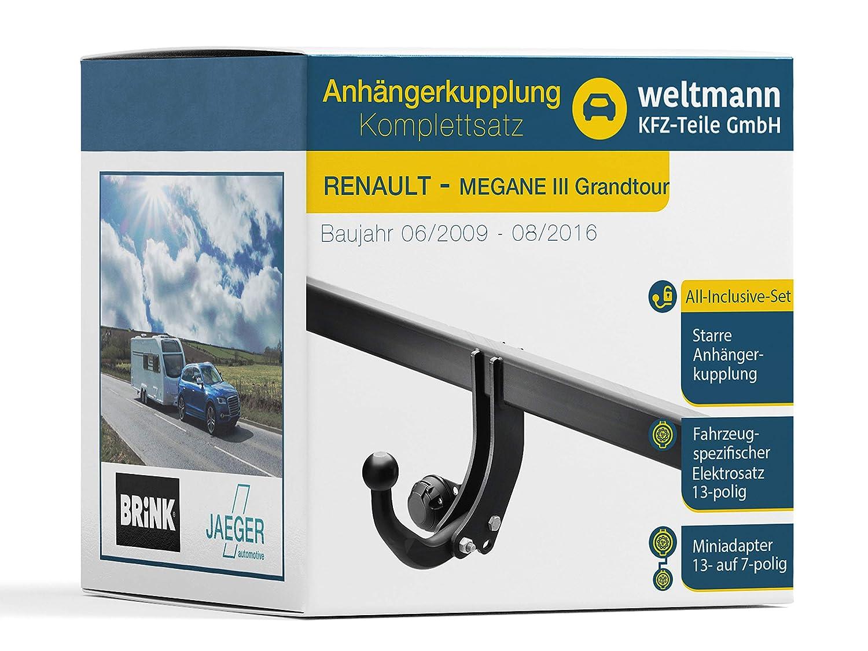 Weltmann Mundo Muñeco AHK Juego Completo Renault Megane III Grand Tour Combinado Brink Starre Remolque + fahrzeugspezifischer Jaeger Automotive eléctrico de ...