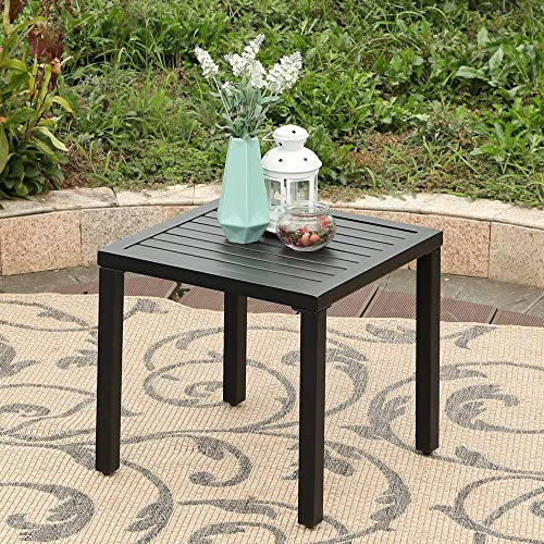 MFSTUDIO Black Patio Table Metal Square Coffee Tea Bistro Table Small Side End Adjustable Outdoor Furniture Table,Black