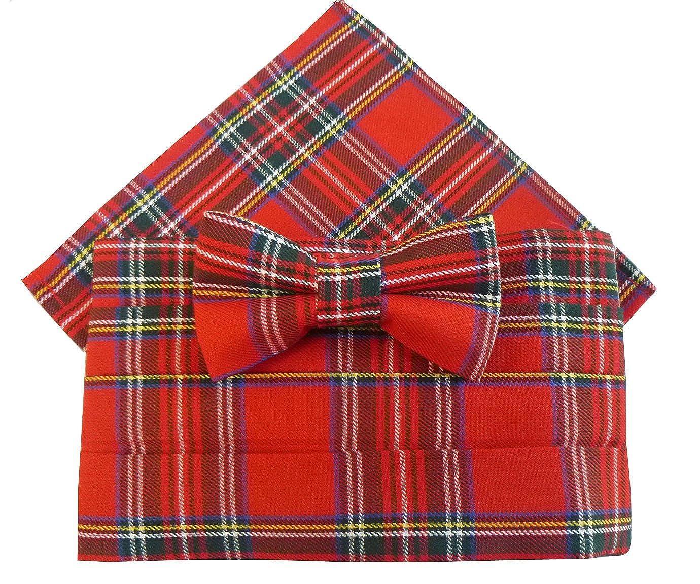 includes Bow Tie /& Pocket Square Royal Stewart Tartan Cummerbund Set