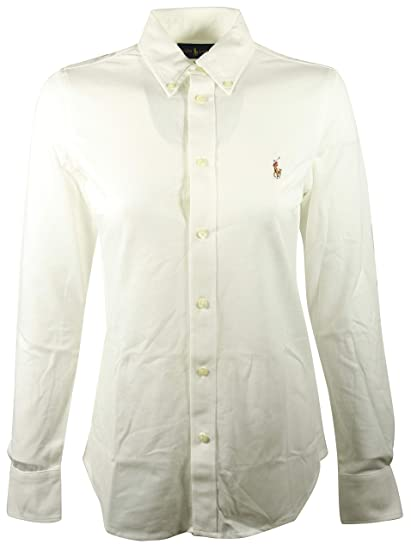 Polo Ralph Lauren Women s Knit Oxford Shirt at Amazon Women s Clothing  store  5bf9d78b5c86