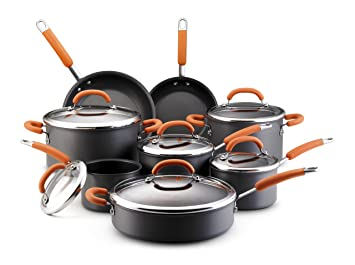 Rachael Ray Hard Anodized Nonstick 14-Piece Cookware Set, Orange by Rachael Ray: Amazon.es: Hogar
