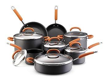 Rachael Ray Hard Anodized Nonstick 14-Piece Cookware Set, Orange by Rachael Ray: Amazon.es: Hogar