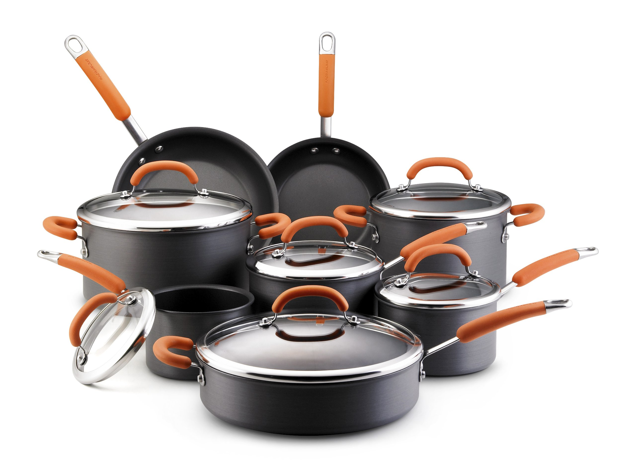 Rachael Ray Hard Anodized Nonstick 14-Piece Cookware Set, Orange