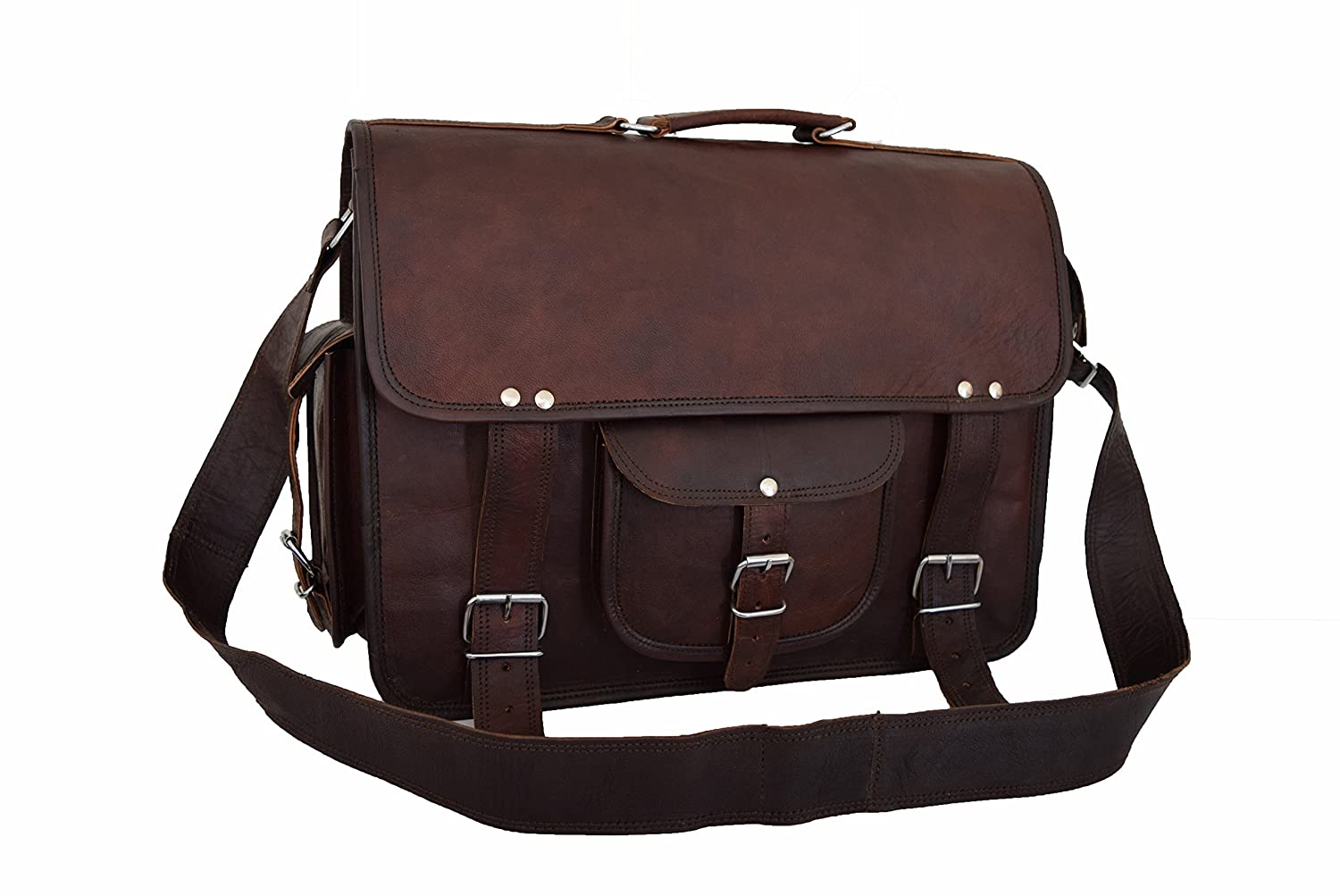18 Inch Vintage Leather Handmade Leather Messenger Bag for Laptop Briefcase Best Computer Satchel School Distressed Leather Bag
