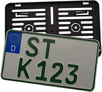 Unlackiert //240// 1x Kennzeichenhalter Nummernschildhalter Made in EU 240 x 130 mm 24 x 13 cm Material bruchfester ABS Kunststoff Schwarz