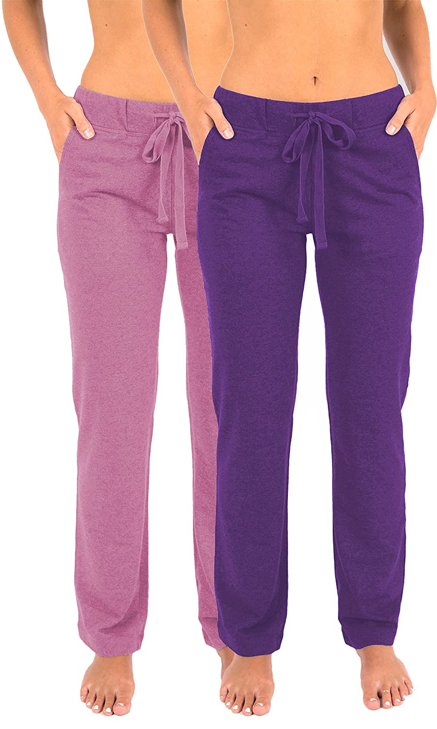 2 Pack Pink & Ultra purple Purple Sexy Basics Women's 2 Pack Ultra Soft French Terry Cotton Drawstring Yoga Lounge Long Pants