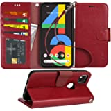 Arae Case for Google Pixel 4A PU Leather Wallet Case Cover [Stand Feature] with Wrist Strap and [4-Slots] ID&Credit Cards Poc