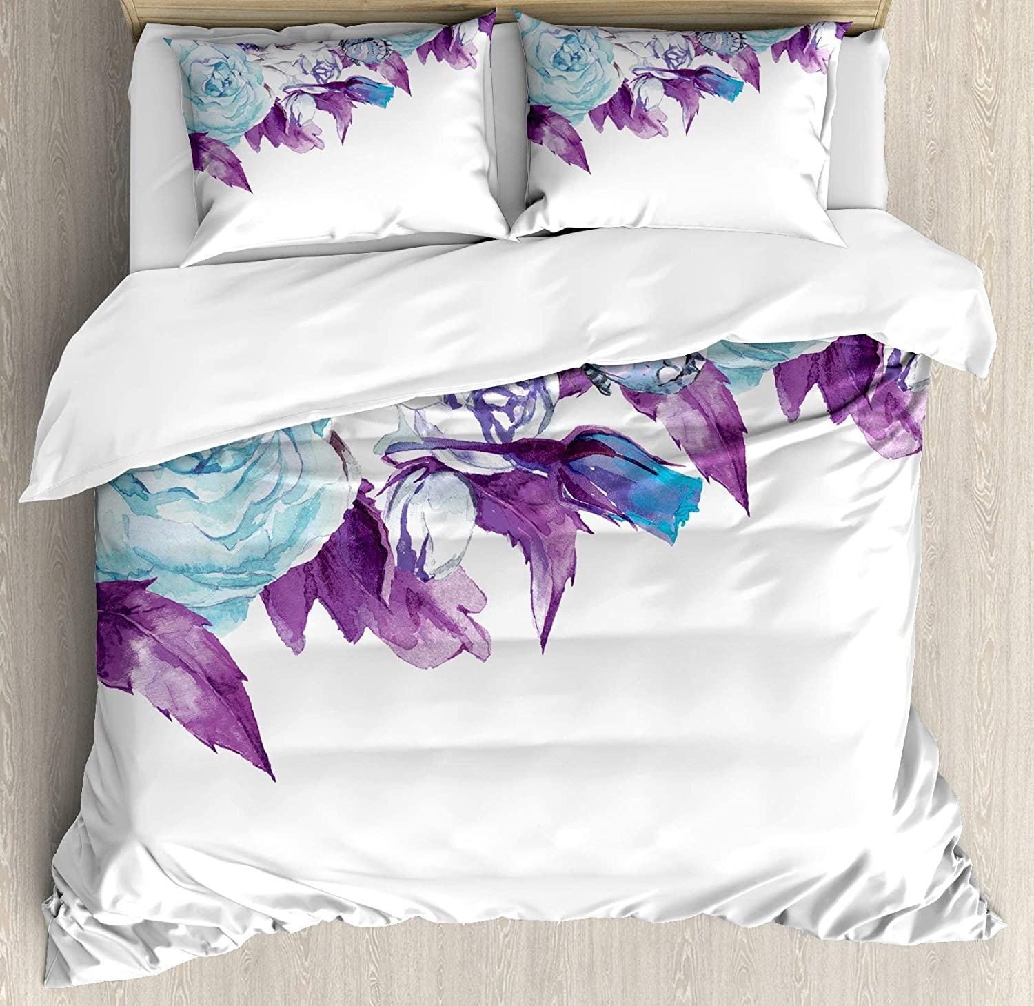 Multi 2 Queen BULING Vintage 4pc Bedding Set Twin Size, Stylish Evil Eye Bead Amulet Like Figures Cubical Rounded Dotted Floral Lightweight Microfiber Duvet Cover Set, Almond Green Apricot Mustard