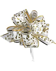 "Allgala 12-pc 6"" Large Everyday Pull Bows, White with Gold spot"