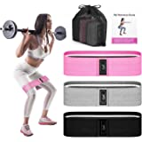 Recredo Booty Bands, 3 Resistance Bands for Legs and Butt, Non Slip Exercise Bands for Women Men, Elastic Strength Squat Band