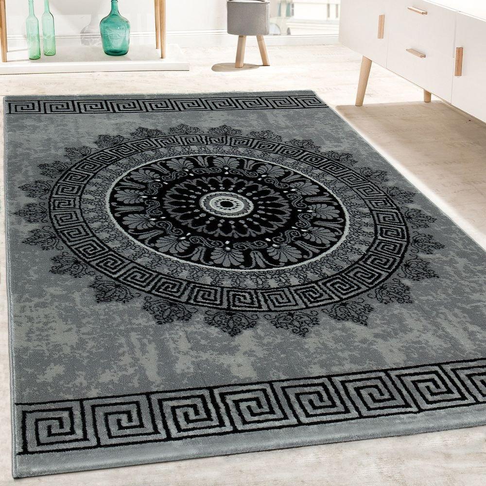 Paco Home Designer Teppich Wohnzimmer Mandala Muster Kurzflor Barock Stil In Grau Schwarz, Grösse 240x340 cm