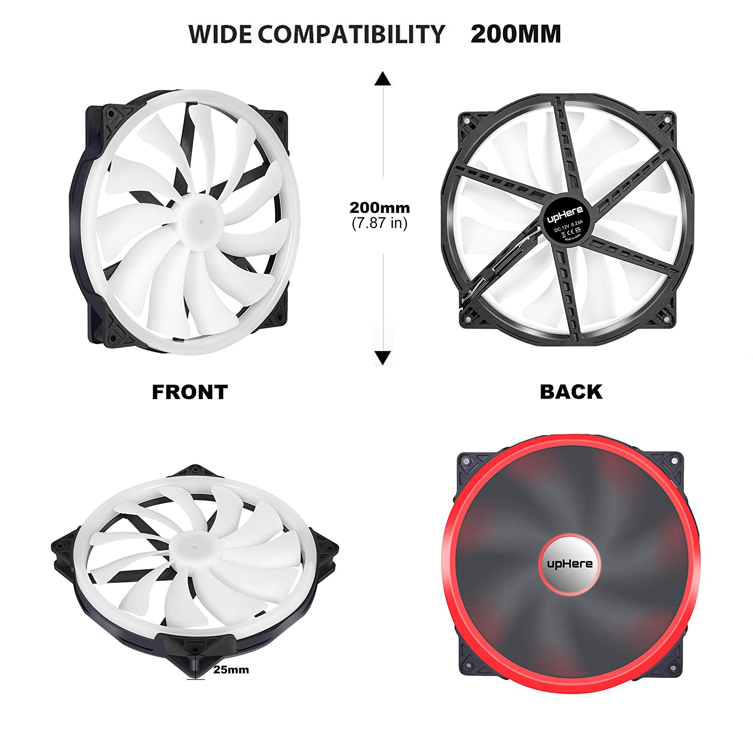 upHere P200RGB-Hydraulic Bearing 200mm 5V RGB PWM Fan for Computer Cases,P200RGB