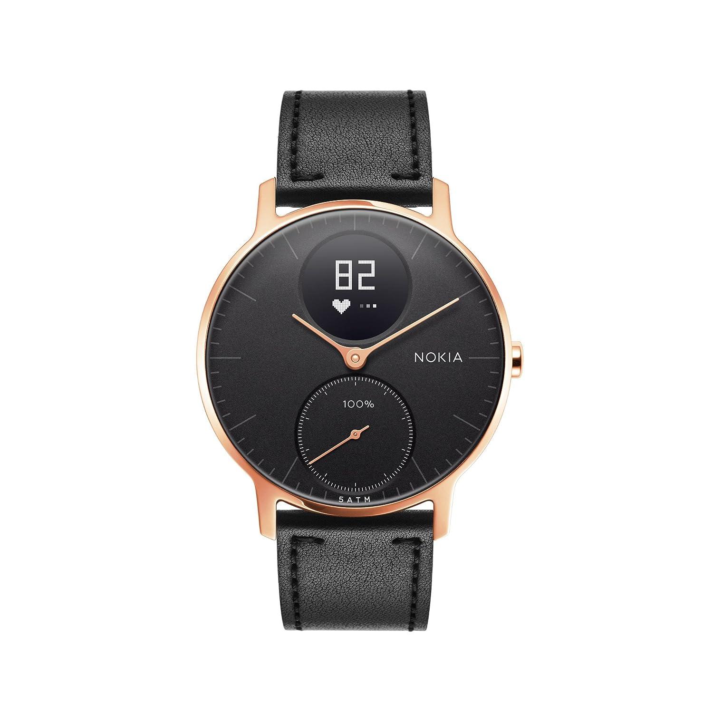 Nokia health Steel HR Rose Gold Reloj Conectado, Unisex Adulto, Cuero Silicona Negro, 36mm
