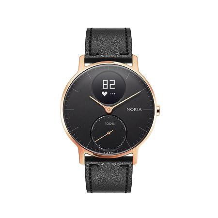 Nokia health Steel HR Rose Gold Reloj Conectado, Unisex Adulto, Cuero Silicona Negro, 36mm: Amazon.es: Deportes y aire libre