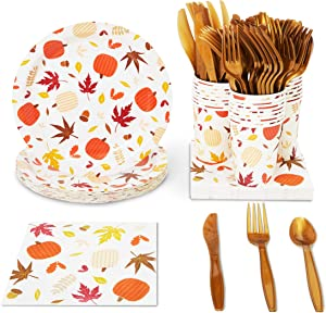 Thanksgiving Party Pack, Paper Plates, Plastic Cutlery, Cups, and Napkins (Serves 24, 144 Pieces)