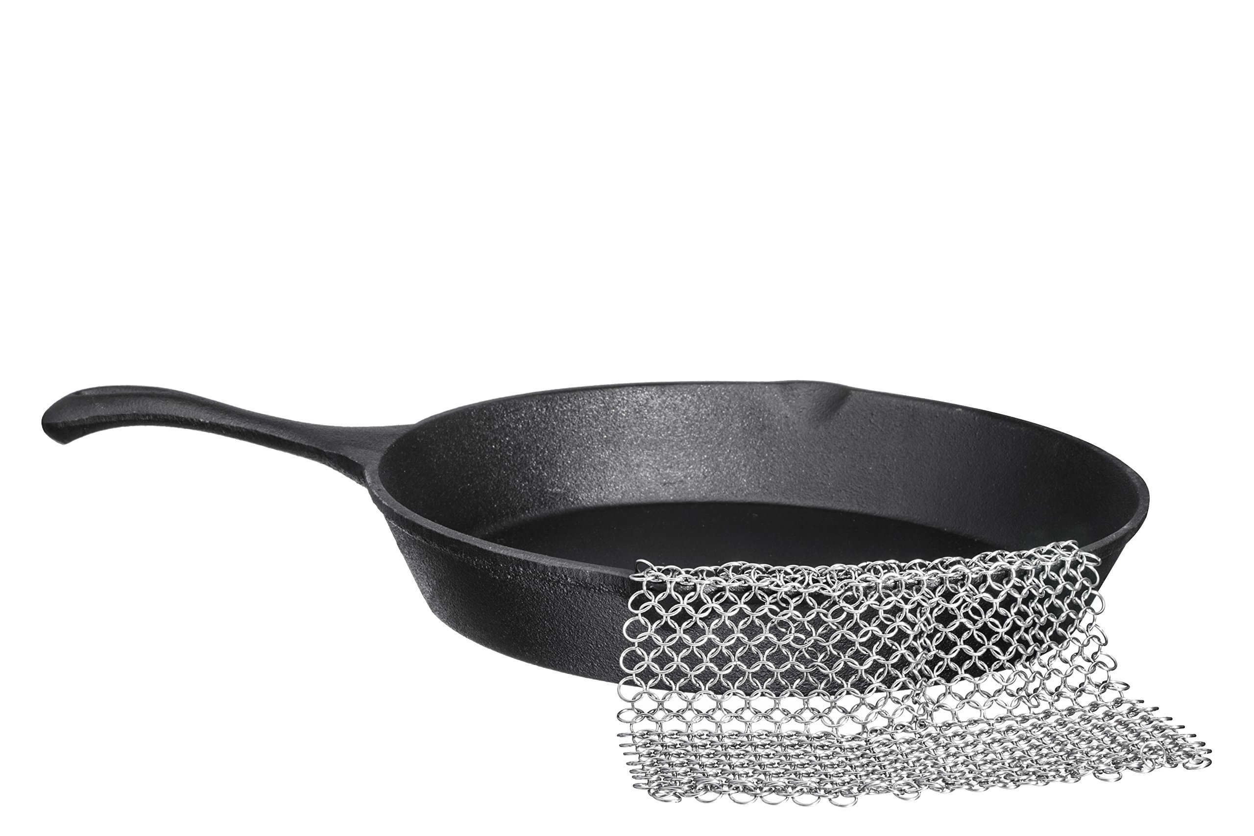 18/10 Stainless Steel Chainmail Scrubber, 8'' x 8'', for Cast Iron Pans and Pots and More by Bruntmor