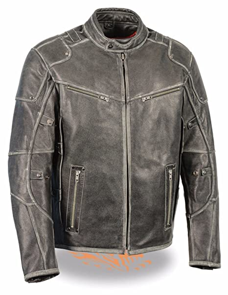 De hombre Vintage envejecido gris Triple ventilado chaqueta W/Side Stretch Regular)