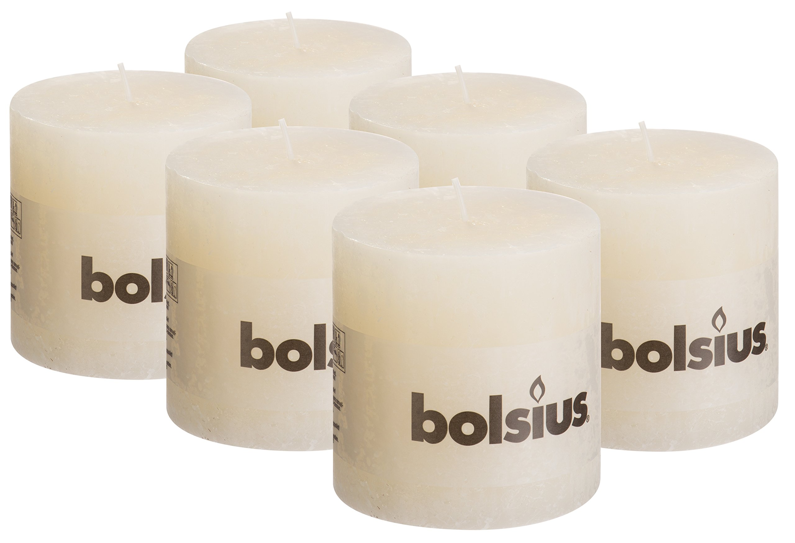 BOLSIUS 6 Pk. Rustic Ivory Pillar Party Wedding Candles Approx. 4 x 4 Inches Party Candles or Restaurant Candles by BOLSIUS
