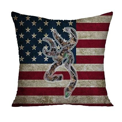 Amazon Browning Camo USA America Flag Decorative Polyester Inspiration American Flag Decorative Throw Pillow