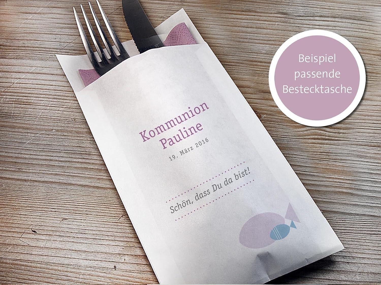 10 Stück personalisierbare Bestecktasche Kommunion, Konfirmation oder Taufe mit Fisch, rosé blau, Staffelpreisrabatt rosé blau