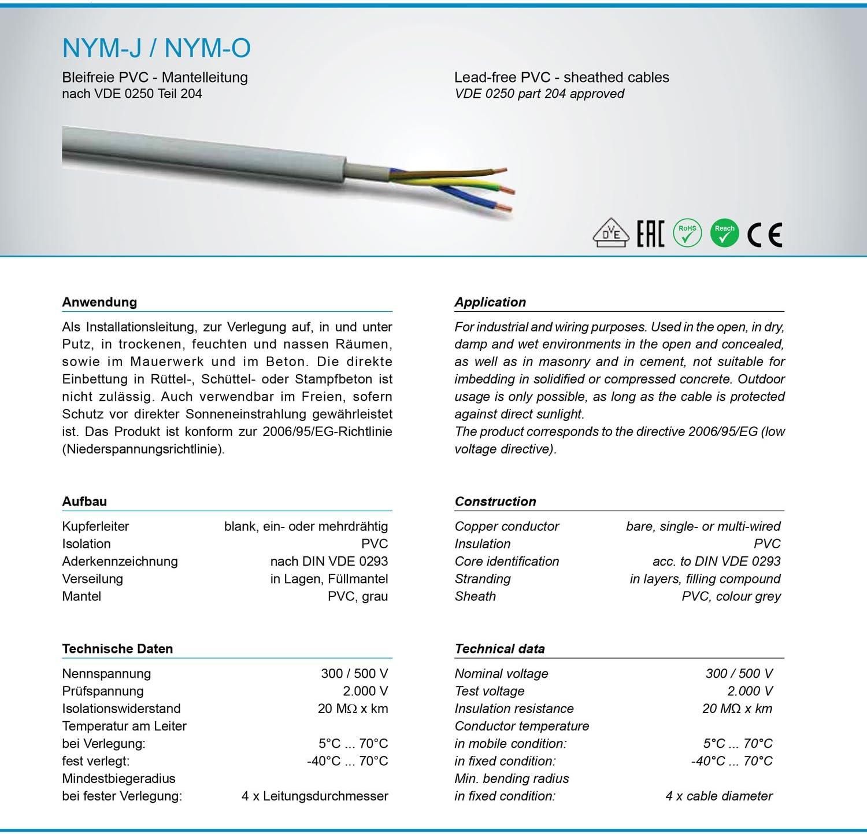 C/âble gain/é NYM-J C/âble dalimentation elektrokabel cuivre OFC 50/m 3/x 1,5/mm/² fabriqu/é en Allemagne
