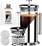 Cafe Du Chateau French Press, 8 Cup, 4 Level Filtration System, 304 Grade Stainless Steel, Heat Resistant Borosilicate Glass (1000ml) by Cafe Du Chateau