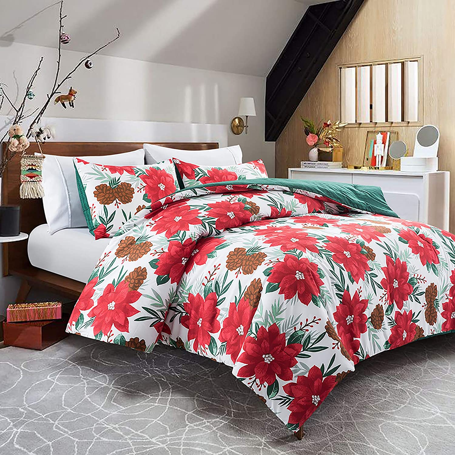 Lifeety 3 Piece Comforter Set with 2 Shams, Christmas Bedding Set, King Size, Red Flower and Pine Cone Pattern