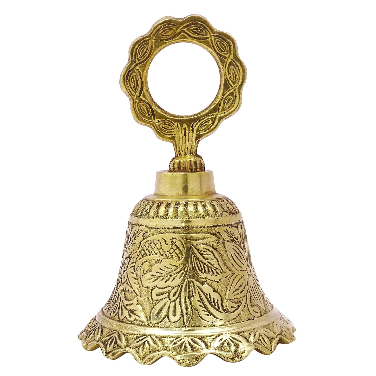Engraved Brass Hand Bell Metal Art Hanging Religious Prayer Traditional Bells