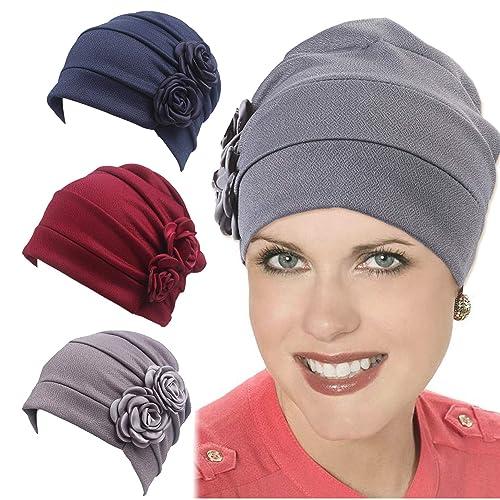 866dfe6d8ea Besteel 3 Packs Sleep Chemotherapy Beanie Cap for Women Head Scarf Hat  Stretch Headwear Muslim Headscarf