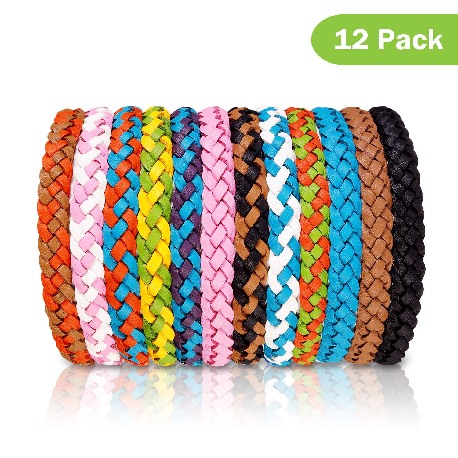 FULNEW Mosquito Repellent Bracelet 12 Pack Bug & Insect Repellent Bracelet 100% Natural DEET-Free Non Toxic Pest Control for Camping, Hiking, Outdoors by FULNEW