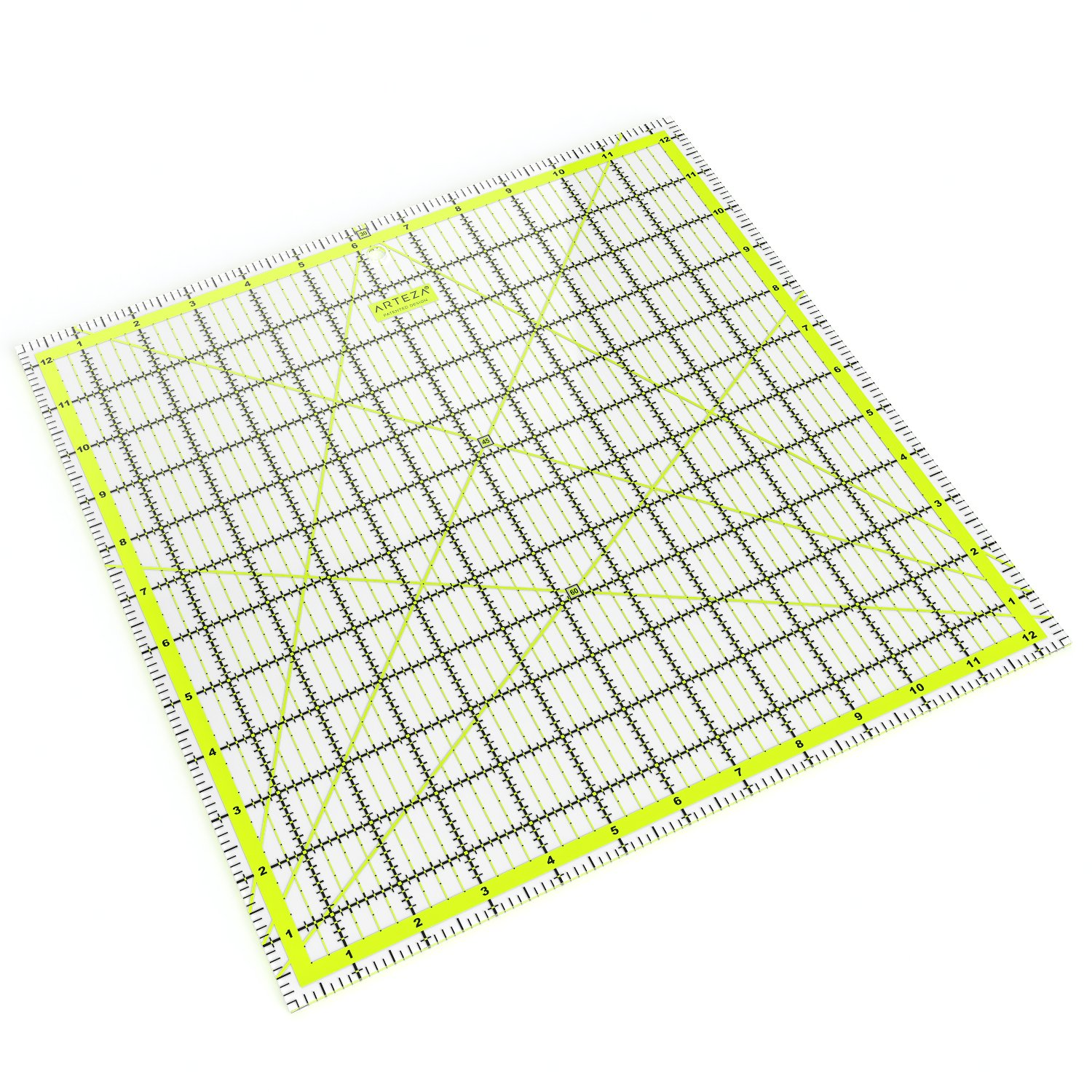 Laser Cut Acrylic Quilters Ruler with Patented Double Colored Grid Lines for Easy Precision Cutting Black /& Lime Green Sewing /& Crafts 12.5 Wide x 12.5 Long for Quilting ARTEZA Quilting Ruler