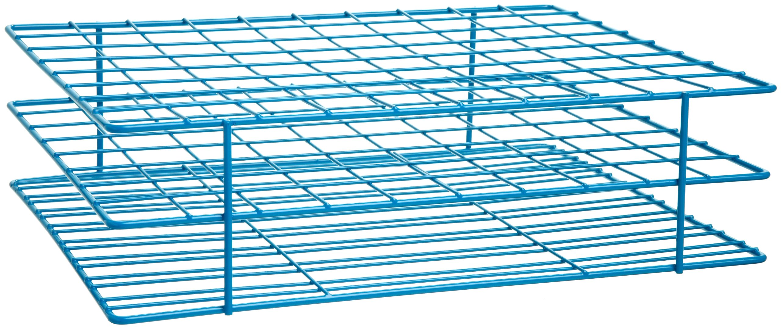 Bel-Art F18773-0001 Poxygrid Test Tube Rack; 20-25mm, 80 Places, 11⁹/₁₆ x 9⁹/₁₆ x 3¹/₄ in., Blue