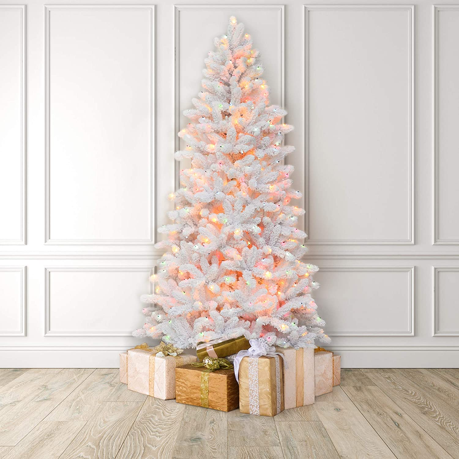 4-6 Ft Christmas White Birch Snow Tree w// LED Lights Outdoor Party Decor US 1PC