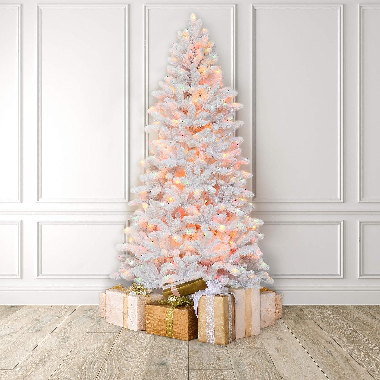 Amazon De Martha Stewart Flocked White Pine Pre Lit Artificial Christmas Tree 6 5 Feet