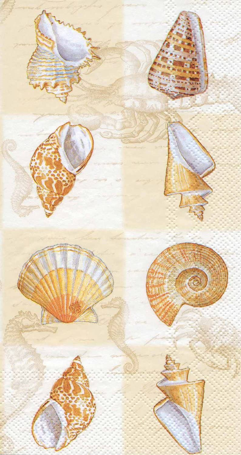 Ideal Home Range 3-Ply Paper Sounds of The Sea, 16 Count Guest Towel Napkins, Cream Set of 2
