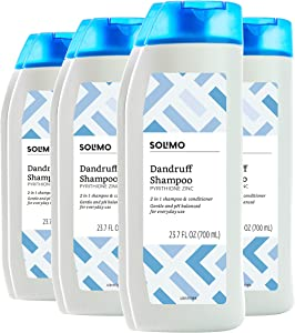 Amazon Brand - Solimo 2-in-1 Dandruff Shampoo and Conditioner, Gentle and pH Balanced, 23.7 Fluid Ounce (Pack of 4)
