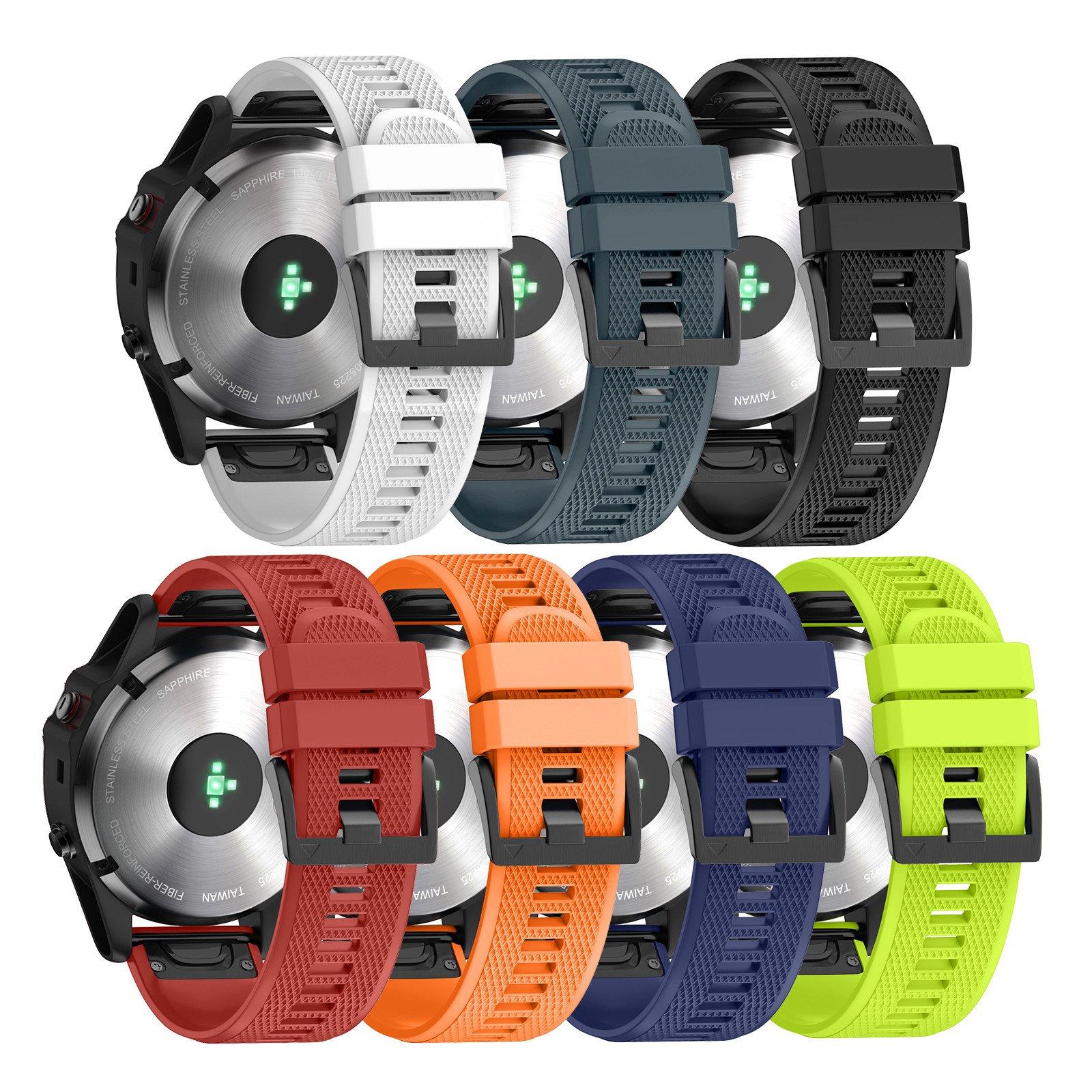 ANCOOL Compatible Garmin Fenix 5 Band Easy Fit 22mm Width Soft Silicone Watch Strap Compatible Garmin Fenix 5/Fenix 5 Plus/Forerunner 935/Approach S60/Quatix 5 - Pack of 7