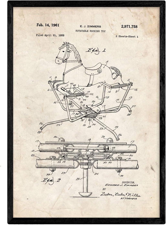 Nacnic Poster Patent Lego 2.e Kunstst/ück mit altem Design-Patent in A3-Format mit blauem Hintergrund
