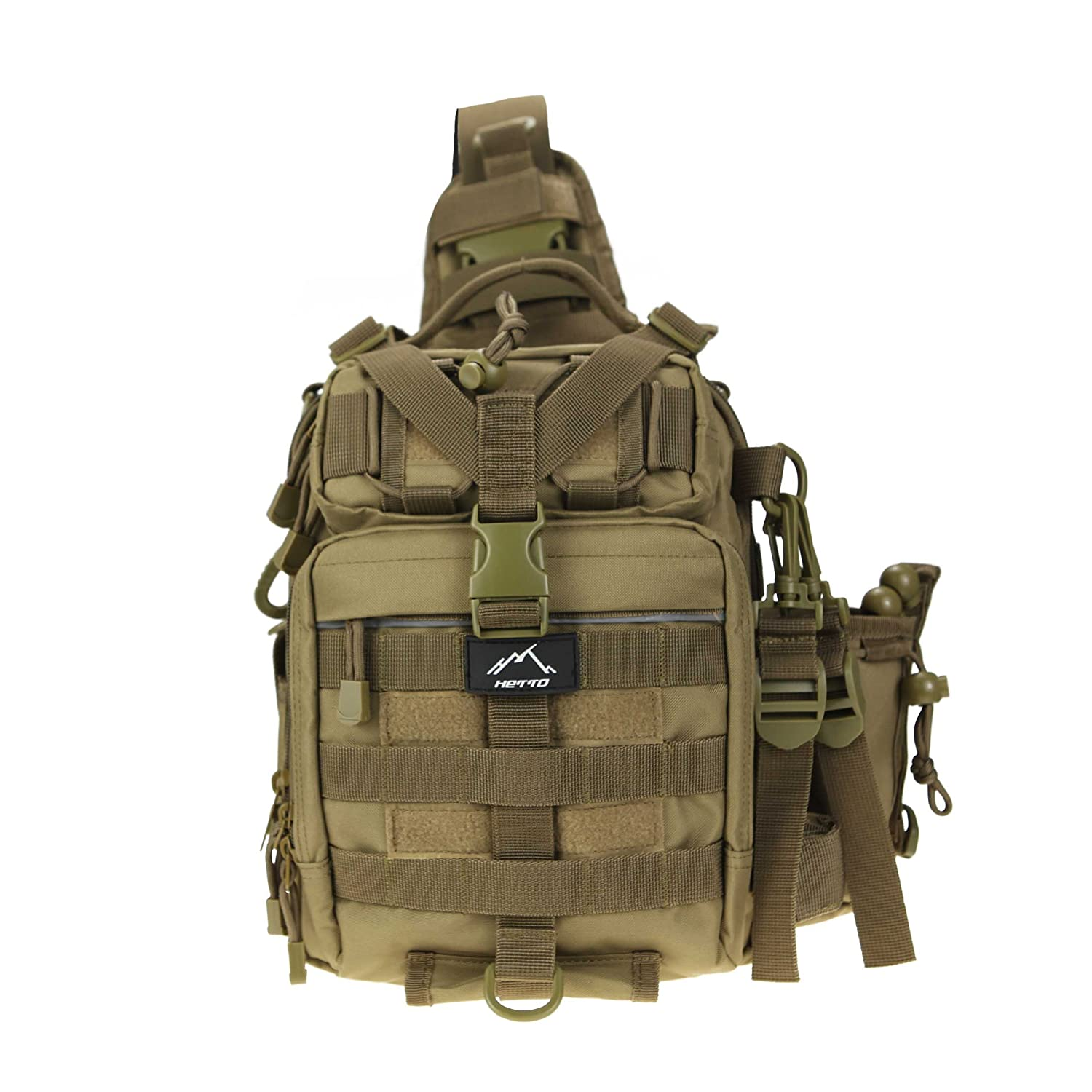HETTO Fly Fishing Sling Shoulder Bag with Handy Pocket Tactical Chest Backpack Molle Shoulder Waterproof Rucksack Single Strap Nylon 1000D Military Backpack Light Army Lure Bag Lightweight for Men
