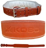 "Kobo 4"" Weight Lifting Leather Belt Brown Back Support"