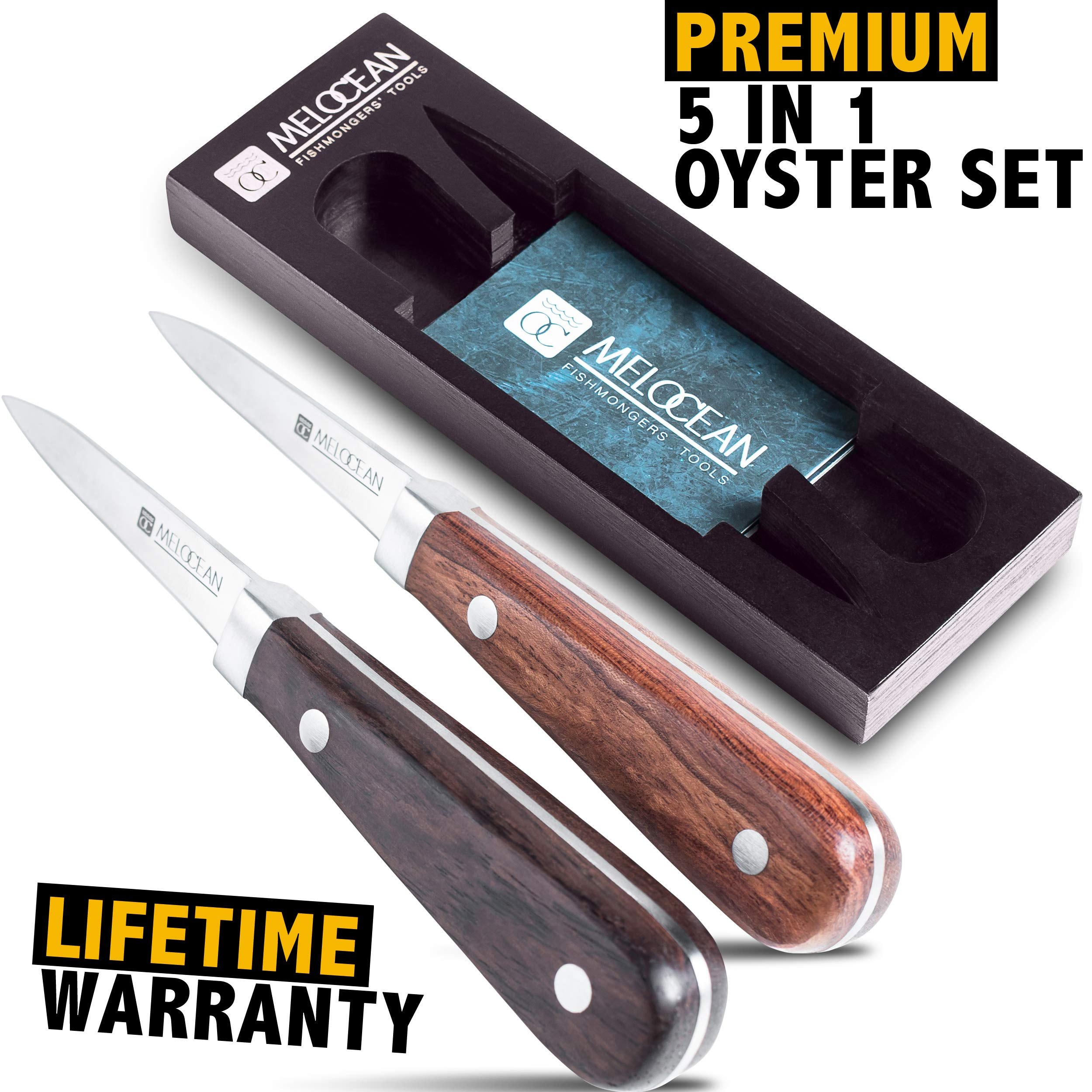 Oyster Shucking Knife Set of 2 – Professional Oyster Clam Knife Shucker Kit in Gift Box – Free Ebook and Brochure Included